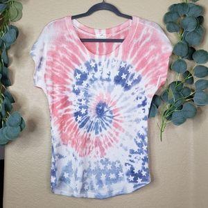Gaze Tie Dye USA Short Sleeve Blouse Small